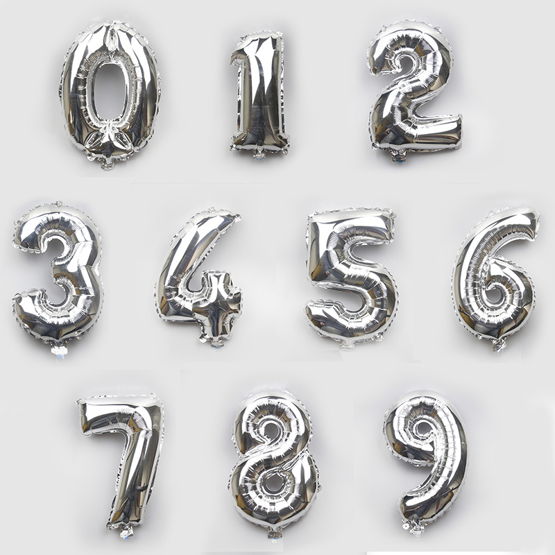 16 inch silver party decoration number helium balloons