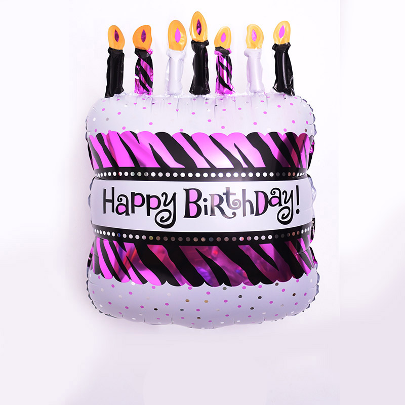 Mini Size 47x28 Cm Happy Birthday Cake Shape Mylar Balloons