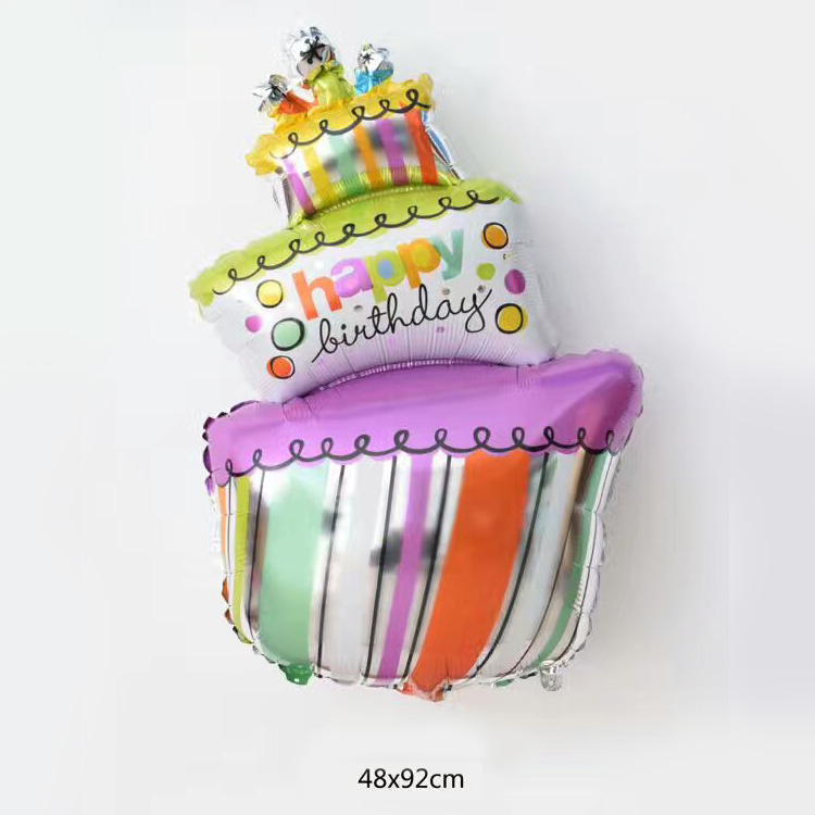 Big size birthday cake self inflatable mylar balloons