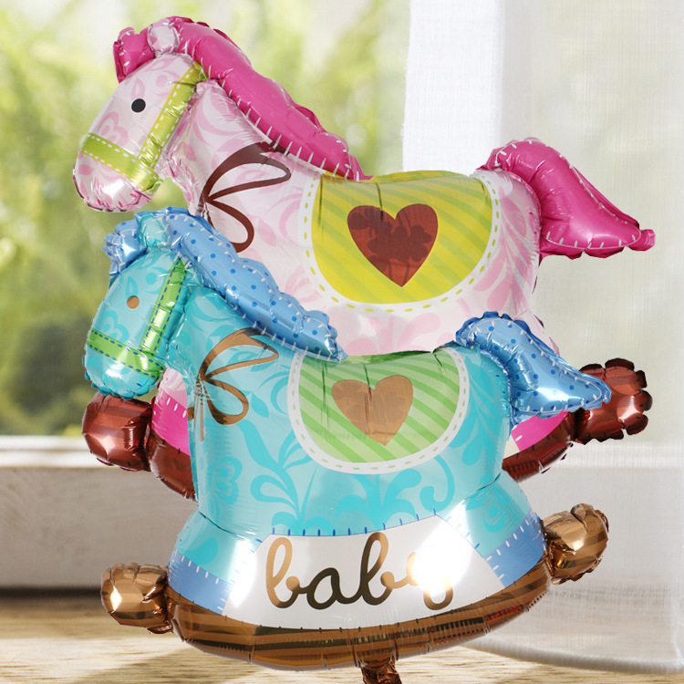 Medium size71x73cm boy and girl baby hobbyhorse helium balloons