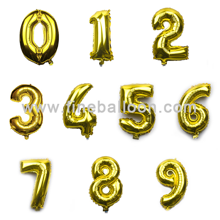 32 inch Gold and Silver Number foil balloons