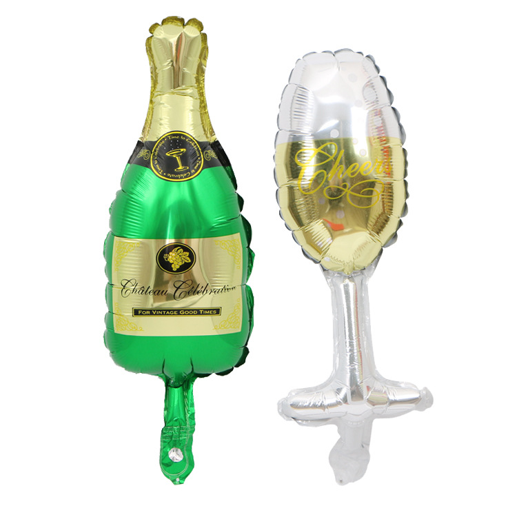 Mini winebottle wineglass foil balloon for party decoration