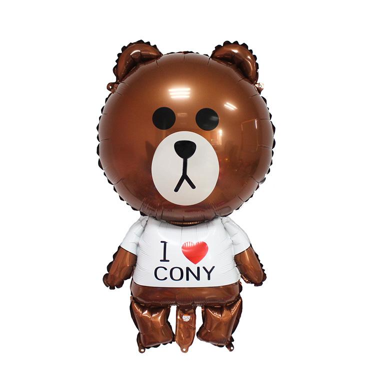 2017 New Design Cartoon Line Friend Brown Bear Foil Balloons