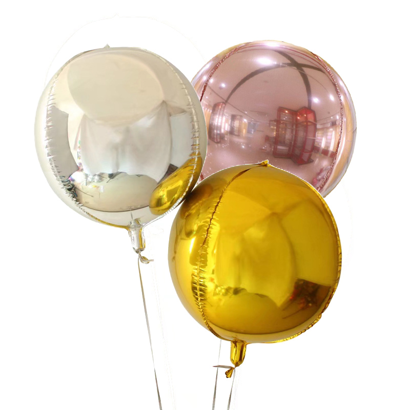 Metallic round beach ball shape foil Orbz balloon