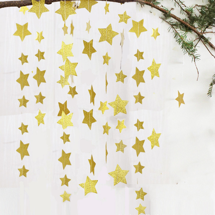 Hanging decoration glittery star shaped paper garlands