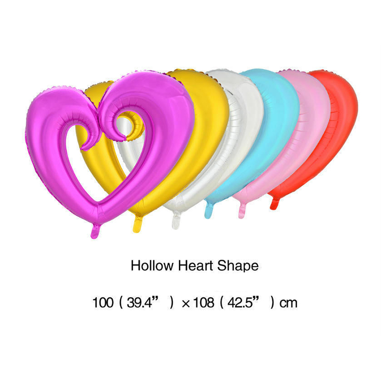 Large mylar hollow heart balloons