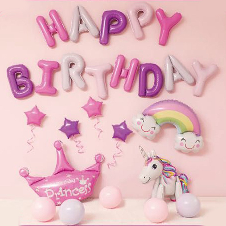 Happy Birthday Unicorn Balloon Set