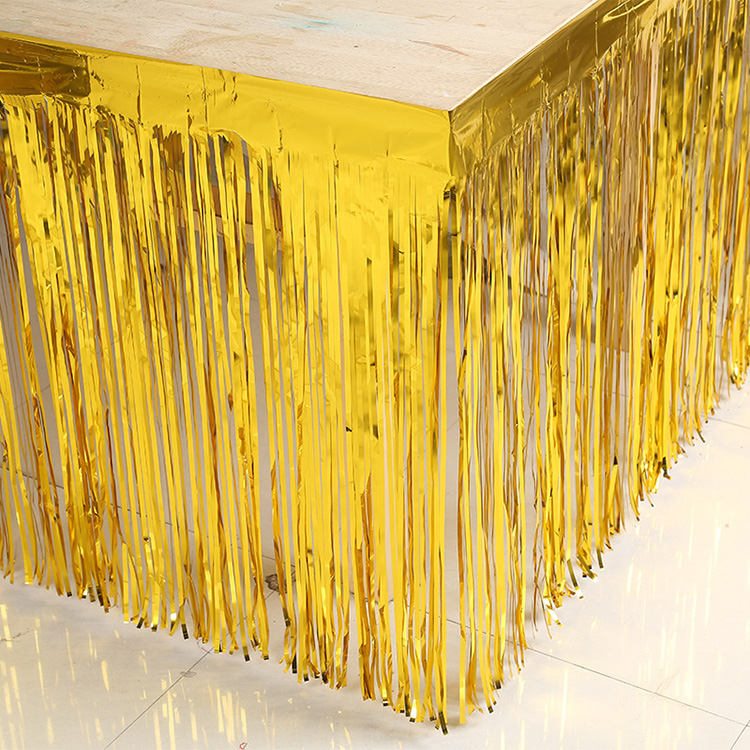 Metallic Foil Fringe Table Skirt