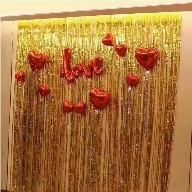 1x5M Gold Metallic Foil Fringe Curtain For Party